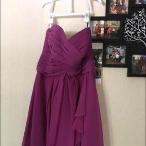 David's Bridal Raspberry Bridesmaid Dress